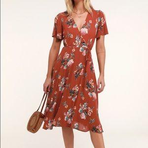 Lulu's ust Red Tropical Print Wrap Midi Dress